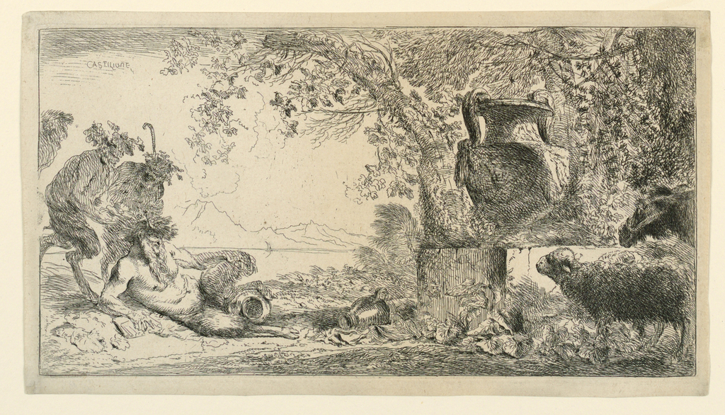 Figural scene in a garden or forest clearing. At left, the Greek God Pan reclines, two satyrs standing behind him. At right, a monument topped with a large urn. At right foreground, a sheep and donkey.
