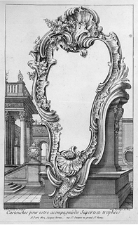 Cartouche design placed in front of a pedestal and buildings