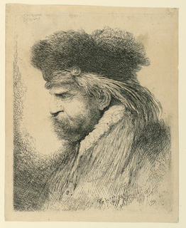 Portrait of a male figure in profile, facing left. He wears a fur cap and coat and has a long beard and hair.