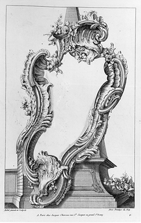 Cartouche design in front of a pedestal