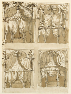 Upper row: at left, a tent, the pointed roof of which is in front of a kind of shell which is laterally framed by feathers. At right, a tent with a high pointed roof, behind which the wall forms a niche which has above the entablature the shape of the upper half of a quatrefoil, with drapery hanging from the upper corners in front of the roof. Lower row: at left, a variation of the last motif, without the drapery. Bunches of flowers frame the lower part of the quatrefoil. At right, a tent with a pointed roof above an entablature and with feathers on top. Behind the roof is a niche, beside which the wall is decorated with a pillar and a figure in a triangle. Only the lowest parts of the posts in all the projects are not covered by curtains.