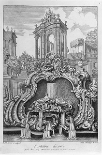 Fountain desing in a form of cartouche and showing buildings in the background