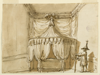 Elevation of a round bed alcove richly hung with textile and lambrequins. The top is tented and capped with large feathers. At right stands a Chinese figure in robes and a tall hat resembling the bed.