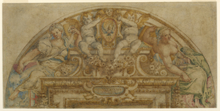 "Two angels seated upon a socle on top of an entablature hold an escutcheon in which the dove is represented. ""(C)VIVS/ (LIVORE) SANATI / (SU)MVS"" (IS. c. 53, v. 5) is written on an escutcheon before the center of the entablature. Two women, probably representing sibyls, sit upon the corners."