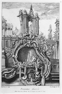 Fountain design in a form of cartouche and showing buildings in the background
