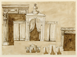 Drawing, Bed alcove and chimney mantel