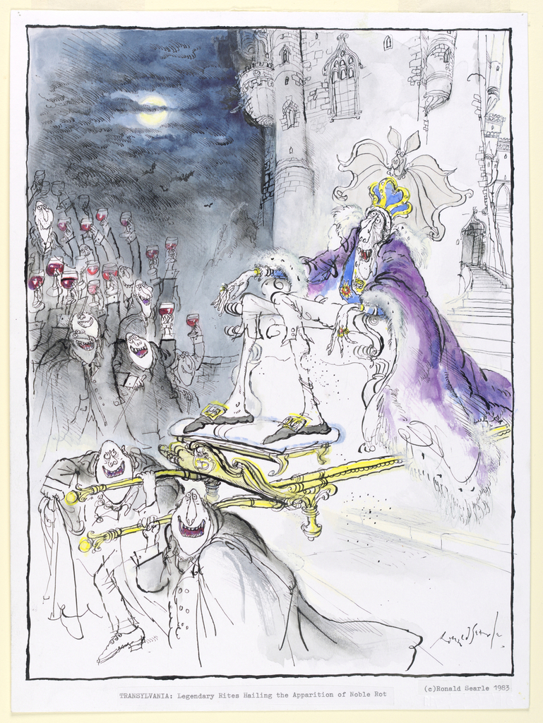 A decrepid looking vampire wearing a royal purple robe and a crown is carried down the stairs of a castle, into the night.  On the upper left, a group of enthusiastic vampires toast him with glasses of red wine.