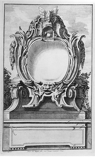 Cartouche design decorated with a helmet and a mask placed on a pedestal with an empty tablet