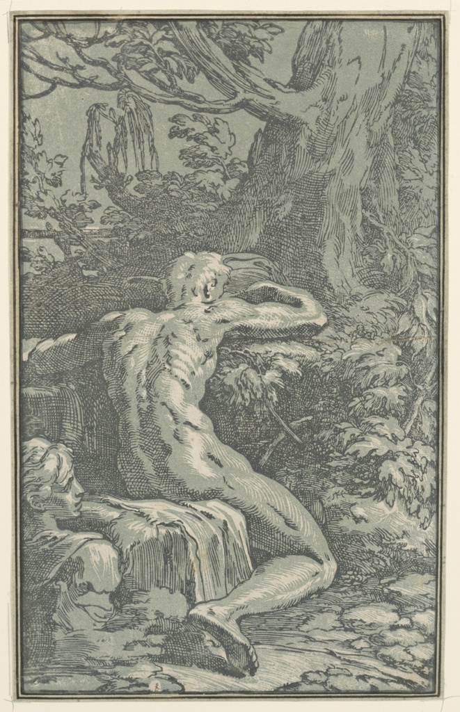 Print, Nude Man Seen from Behind (Narcissus?)