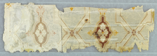 Brown cartouche set within diaper or trellis framework. Cartouche contains acanthus rosette. Printed in rust-color, orange and gray on off-white ground. Travel diary or journal written in pen and ink on verso, dated 1845; possibly a liner.