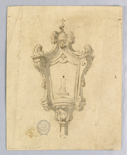 Burning candle visible, framed by mouldings and by protruding volutes. Above, curling acanthus leaves support another entablature, from which more volutes rise. At top, a cross on a ball.