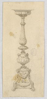 Design for a candelabra. Acanthus feet. Base decorated with ram heads and festoons. Gadrooning at body and lip.