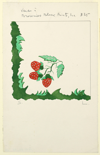 Three strawberries on a vine, with green border.