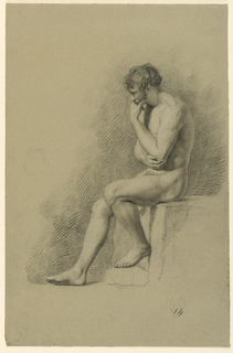 A male nude is seen seated on a block in left profile, resting his chin on his left hand, with his left elbow in his right palm. A light sketch of a face in left profile appears on the left.