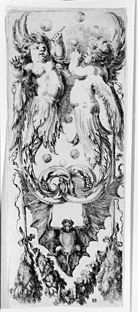 Vertical rectangle showing putti with acanthus tails blowing bubbles, a bat and a swag.