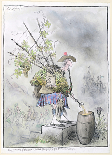 In the foreground, a man wearing a tam o'shanter purses his lips into a reed connected to a pile of white grapes in the shape of a bagpipe, out of which comes an amber liquid, into a barrel. In the distance, a castle looms, mist hangs overhead, and a group of similarly dressed people are engaged in a dance.