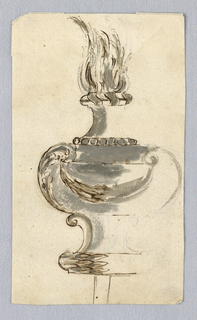 Sketch of a flaming urn with volutes and a swag.