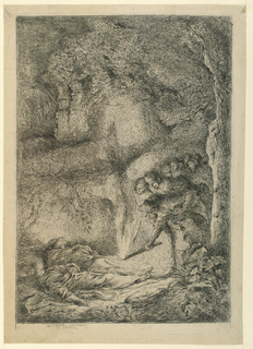 Interior of a cave. Group of figures at right, one holding a torch towards the ground. At lower left, the bodies of the saints.