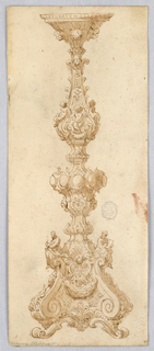 Design for a Candelabra. Baluster form decorated with three putti holding hands. At center, lobes surrounded with acanthus leaves. Scrolling base with scroll foot and two seated figures.