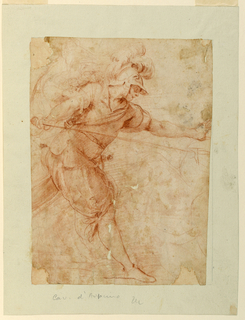 A figure of a soldier in a feathered helmet strides forward with his left arm extended before him and a lance or similar object in his right hand.