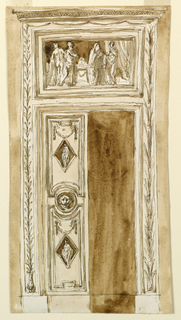 With the left door folding. It is divided into panels and a central horizontal band, and a circle with a lion mask. The panels have above a festoon and in the center a lozenge, with the figure of a standing woman. The overdoor shows a representation of probably the preparation of the sacrificing of Iphigenia. The frame is decorated with a stem, at left, rising from an acanthus blossom; at right with palm branches springing from a calyx. On top are the cornices of an entablature. The wall is colored.