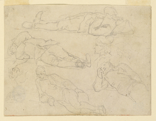 At top, two full figures of men lying on their backs. Below, a full figure and half figure of a man reclining, propped up on one elbow. Two head studies of a head in profile, and two studies on a head with a hand across the eyes.