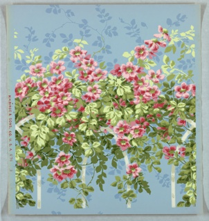 Top portion of trellis panel: on light blue ground, pink wild roses and foliage on white trellis.