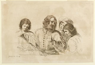 An older bearded man leads with his left hand, and holds the music in his right, for three boys who surround him.