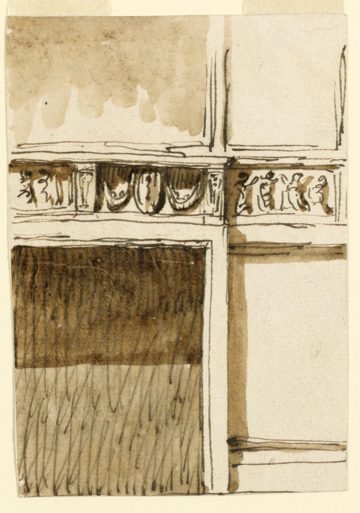 Drawing, Frieze for mantelpiece and adjoining wall
