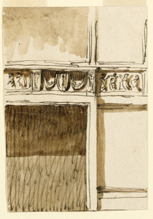 The right half of the fireplace and the lower right corner of the looking-glass are shown. The frieze is decorated with festoons hanging beside an ovoidal medallion at right, with figures in the center. Brackets supporting the entablature separate the panels. Figures decorate the frieze at the wall. Reliefs for the mantelpiece in the Noble Cabinet, Palazzo Altieri.