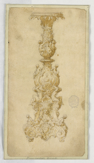 Design for a candelabrum. Scrolling base with crowned shield. Pairs of ignudi and putti along body. At center a lobed cartouche with indistinct figure. Three putti and a spiraling garland at top.