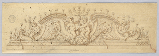 Crest in the shape of a broken pediment with putti sitting between scrolls.