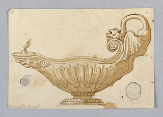 Design for an oil lamp, the spout decorated with a mask facing left. The handle at right in the form of a dragon. Gadrooning and acanthus leaves on body.