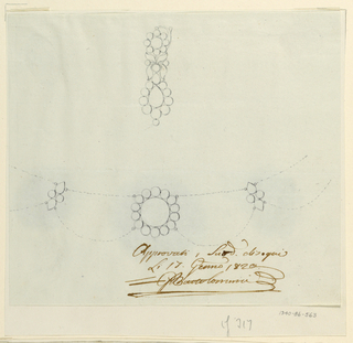 Drawing, Design for a comb, 1820