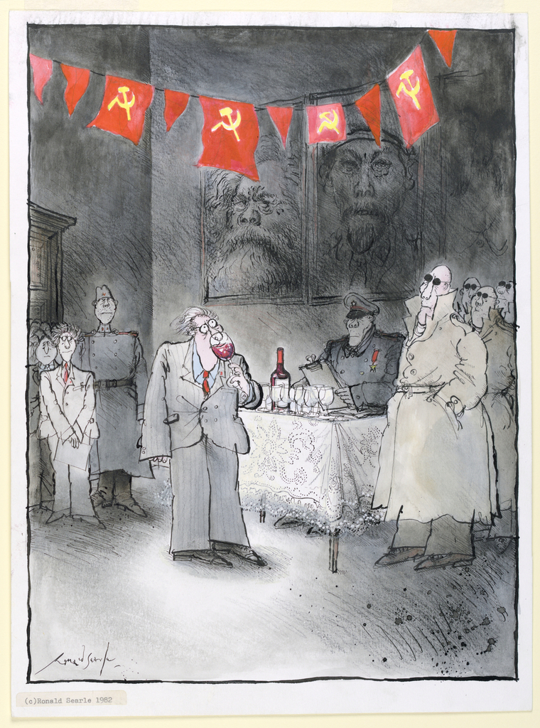 Beneath a swath of USSR flags, a nervous looking figure in a suit sips red wine while being watched from the right by a line of trench-coat clad figures who wear sun glasses.  At left, a queue of  figures dressed in suits wait for their turn to taste the wine.