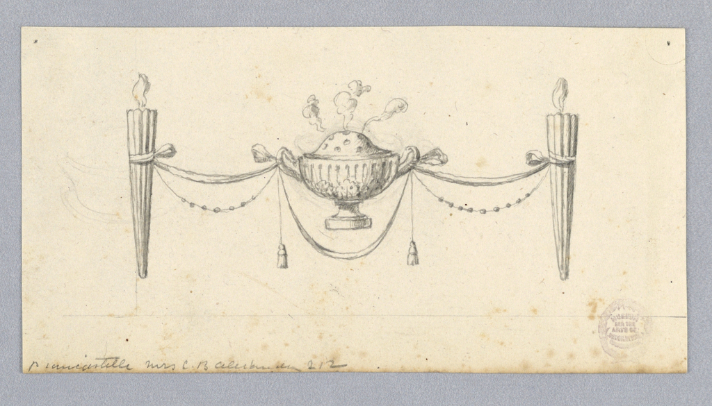 At center, a smoking brazier with handles. It is supported by festoons tied to torches.
