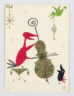 Vertical rectangle. A red bird with fanned tail and closed eyes sits on a decorated stool while singing and playing the cello. Groups of six gold dots scattered throughout composition. At upper right, a smaller green bird in flight, holding in its open beak a gold curving ornament. At lower right, a black bird with red fanned tail standing and singing. At upper left, a gold ornament hanging from the top edge of the card.