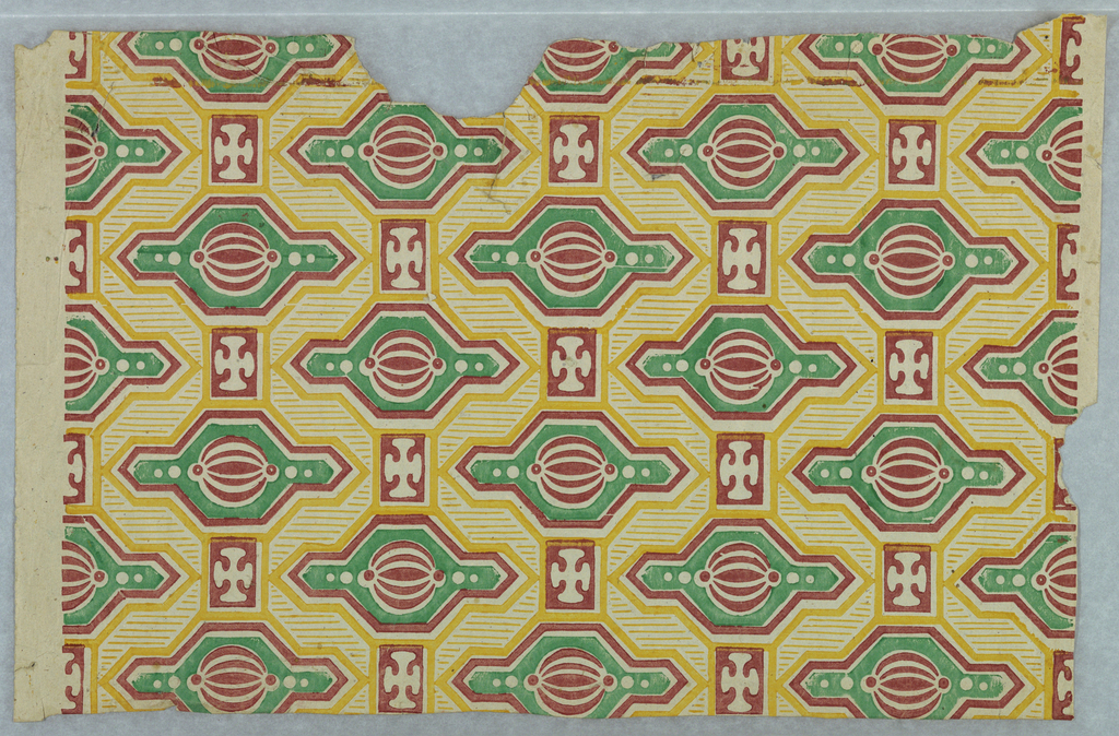 Full width of paper with geometric design of green figure set with red melon-like figure, and surrounded with red and yellow lines, alternating with red rectangle enclosing white cross.