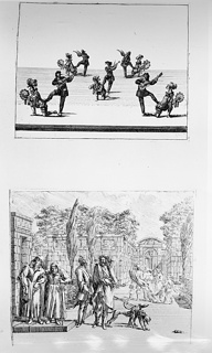 In upper frame, musicians with instruments and figures dancing. In lower frame, two figures stand at the center with two dogs on leashes. Two elder figures stand to their left. An architectural structure and trees stand behind them.