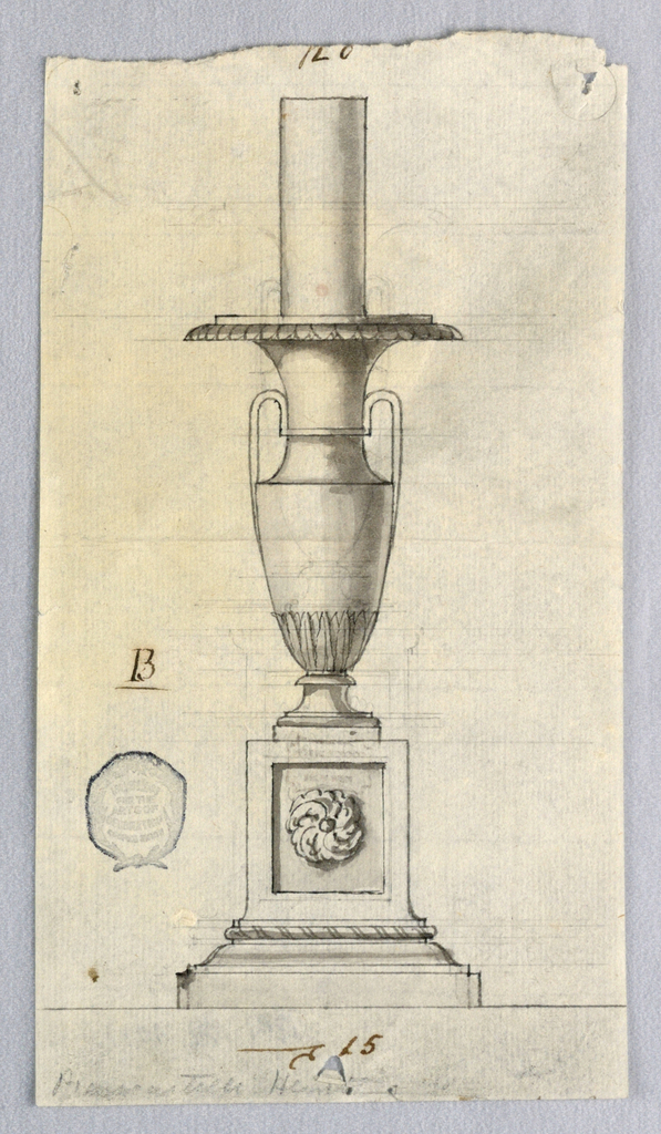 Vase form on a square block with a rosette. At top, a flaring socket.