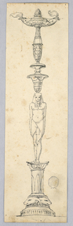 The shaft consists of a column with ram heads on the base. An Egyptian carries a socket on his head, and upon it stands a balustrade with the two spouted bowl on top.