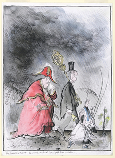 A storm rains down upon a group of processing mourners led by a preist and two clergymen and including a man in a top-hat wearing a morning coat and carrying a bell in his right hand and a scepter in his left .  At the rear, a large man wearing a bishop's red vestments blows his nose into a hankerchief.