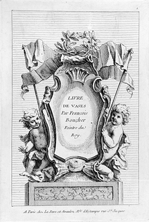 At center, a cartouche surrounded by putti at left and right, each holding the support of a banner at top. Above the escutcheon, a crown of laurel leaves.