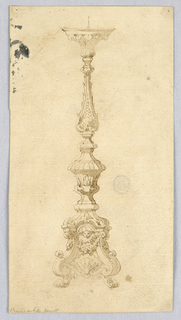 Design for a Candelabra with baluster form. Scrolling acanthus base with paw foot, cherubs and swags.