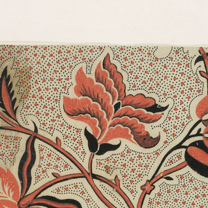 Allover pattern of orange dots and small black dots. Stylized orange and black blossoms, with intertwined vines and a bird in upper right.