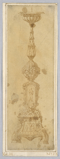 "Design for a Candelabra. Baluster form with acanthus leaves. Below, a sculpture niche flanked by ignudo. A tablet labeled ""AGNES"" supported by a figure. At base, a square tablet with a sketch of Christ. Below, a cherub."