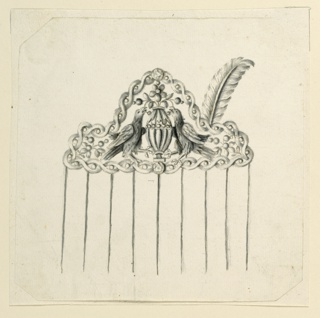 Design for a hair comb. Above nine tines, a pointed compartment formed by two entwined ribbons. Inside, two eagles stand beside a vase filled with stemmed flowers and fruits, two of which each the eagles are eating. A feather is fastened at the upper frame of the right part of the headpiece. Bevelled corners.