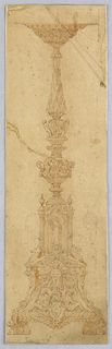Design for a candelabrum with a figure in a niche. Below, two Pegasus, pairs of ignudi and a genii holding a tablet with illegible suggestion of script. At bottom center, a crest with bat wings. Supported by two lions.