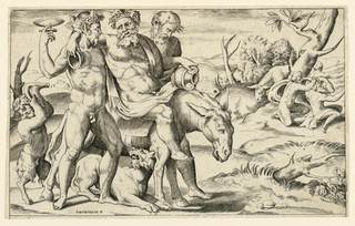 """In foreground, Silenus riding on a donkey from left to right. He is supported on both sides by a faun and followed by a little faun. In mid-distance, right, three figures under a tree. In background, houses and mountains. Inscribed, lower left: """"J. Bonahso F."""""""