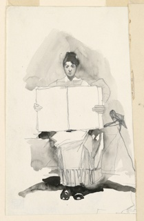 Vertical rectangle. Study of a young woman sitting upon a sofa and holding an open book toward the spectator. Fragments of graphite sketches beside.